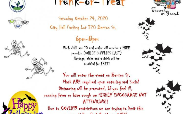 Trunk or Treat October 24, 2020